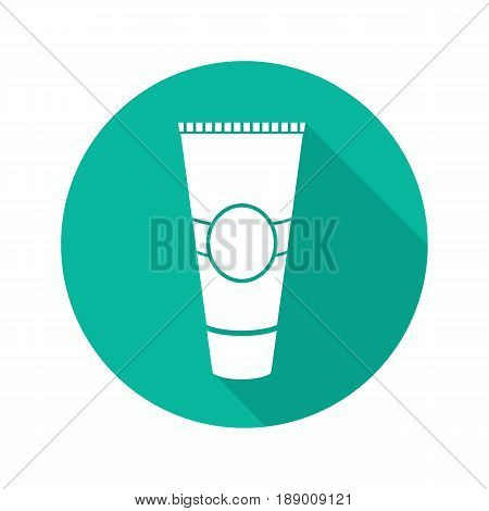 Cream tube flat linear long shadow icon. Toothpaste. Aftershave cream. Vector line symbol