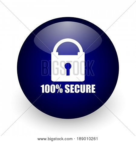 Secure blue glossy ball web icon on white background. Round 3d render button.