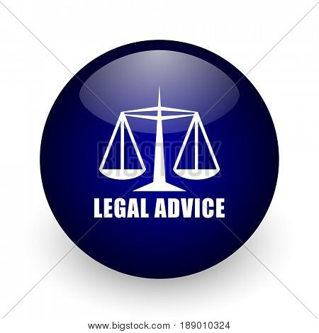 Legal advice blue glossy ball web icon on white background. Round 3d render button.