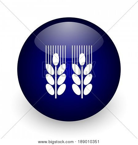 Agricultural blue glossy ball web icon on white background. Round 3d render button.