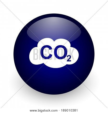 Carbon dioxide blue glossy ball web icon on white background. Round 3d render button.