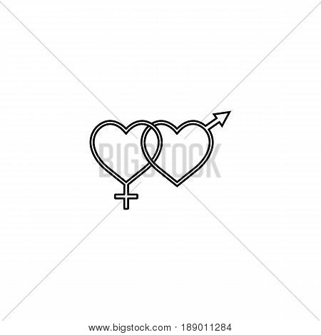 Heterosexual like hearts line icon, male and female, gender, vector graphics, a linear pattern on a white background, eps 10.