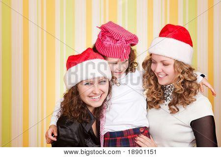 beautiful caucasian family celebrating new year