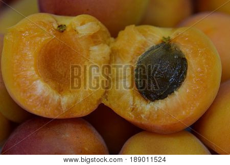 Macro view on the open inside of Prunus armeniaca fruit showing the pit and delicious fruit