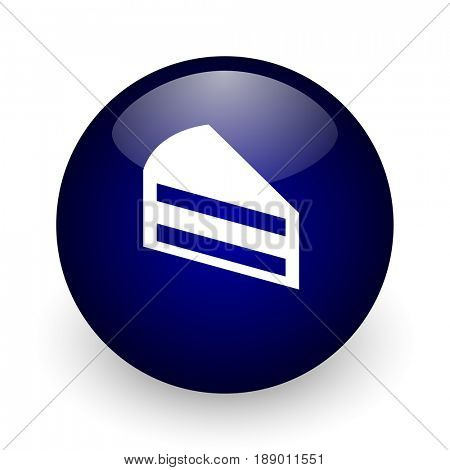 Cake blue glossy ball web icon on white background. Round 3d render button.