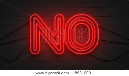 Flickering Blinking Red Neon Sign On Brick Wall Background, No Negation Symbol