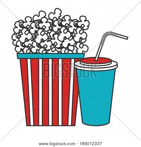 pop corn with soda cinema food vector illustration design
