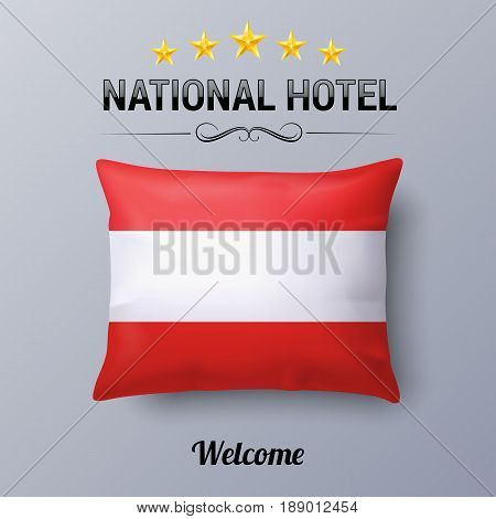 Realistic Pillow and Flag of Austria as Symbol National Hotel. Flag Pillow Cover with Austrian flag