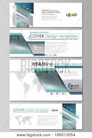 Social media and email headers set, modern banners. Business templates. Easy editable abstract design template, vector layouts in popular sizes. Technology background in geometric style made from circles.