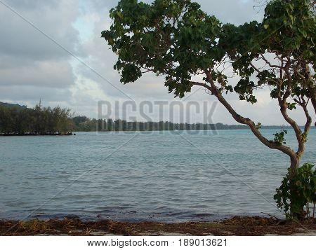 Saipan lagoon on a gloomy day A gloomy but still beautiful day at the Fishing Base in Garapan, Saipan