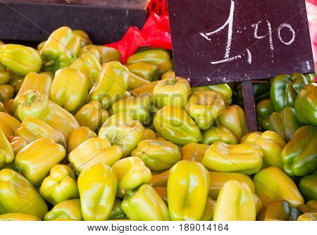 Pile Of Yellow Peppers Farmers Market Offer