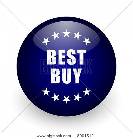 Best buy blue glossy ball web icon on white background. Round 3d render button.