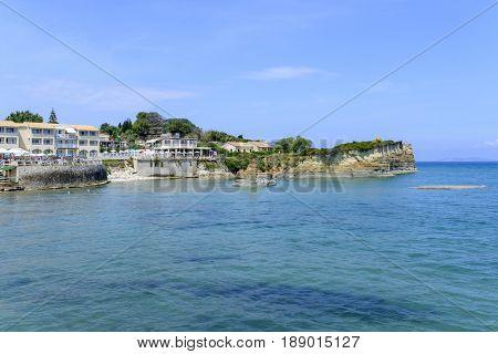 SIDARI, GREECE - MAY 24: View of a beautiful town full of restaurants on the cliffs on May 24, 2017 in Sidari, Corfu island in Greece.