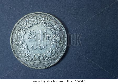 Two Swiss Francs Helvetia 1940 Tail Coin, Vintage Antique Old, Difficult And Rare To Find.
