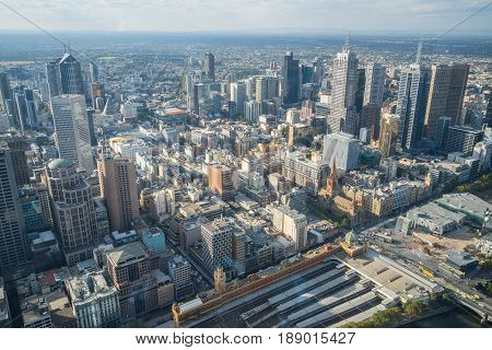 Melbourne, AUSTRALIA - SEPTEMBER 22 2015: Melbourne city view from the above of Eureka tower the highest building in Melbourne, Australia.
