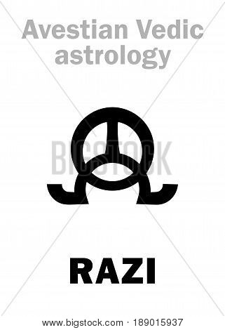 Astrology Alphabet: RAZI, Avestian vedic astral female planet. Hieroglyphics character sign (single symbol).