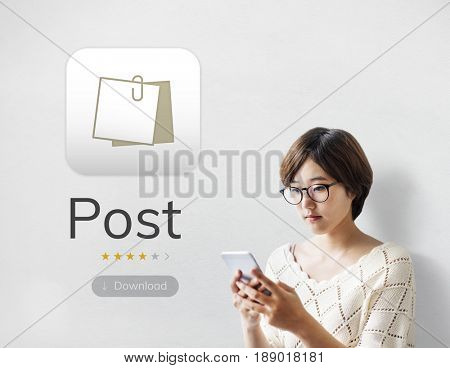 young woman with illustration of personal organizer notepad