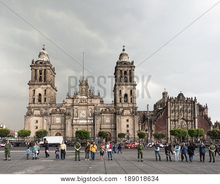 Mexico City, Mexico - April 19, 2017: Metropolitan Cathedral of the Assumption of Mary