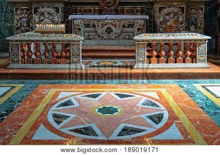 Colorful marble floor in the Church of San Giuseppe dei Teatini - Palermo Sicily Italy, 20 October 2011