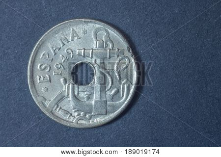 Spain Fifty Centimos 1949 Head Coin, Vintage Antique Old, Difficult And Rare To Find. Anchor.