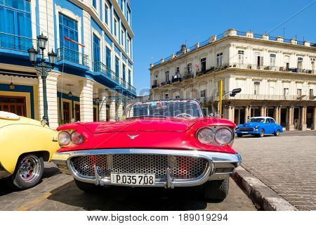 HAVANA,CUBA - MAY 29, 2017 : Vintage red Ford Thunderbird convertible car parked in Old Havana