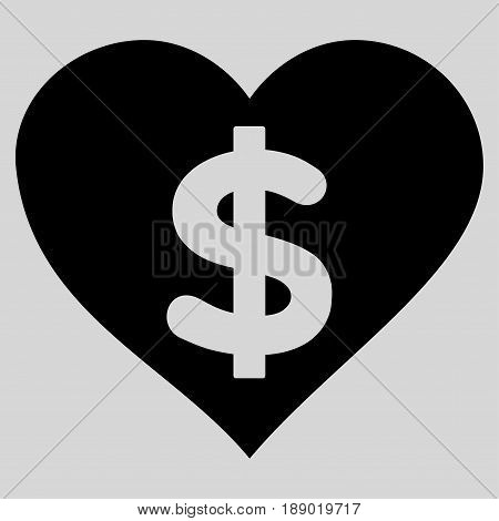 Paid Love flat icon. Vector black symbol. Pictograph is isolated on a light gray background. Trendy flat style illustration for web site design, logo, ads, apps, user interface.