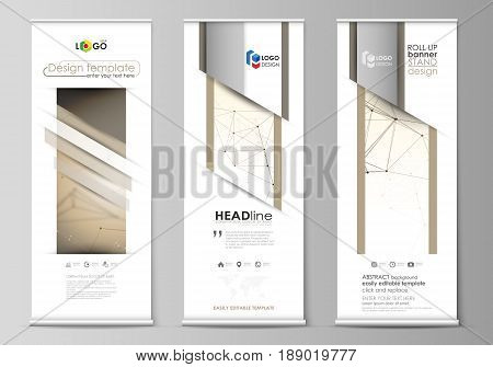 Set of roll up banner stands, flat design templates, abstract geometric style, modern business concept, corporate vertical vector flyers, flag layouts. Technology, science, medical concept. Golden dots and lines, cybernetic digital style. Lines plexus.