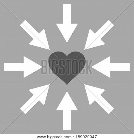Impact Love Heart flat icon. Vector bicolor dark gray and white symbol. Pictograph is isolated on a silver background. Trendy flat style illustration for web site design, logo, ads, apps,