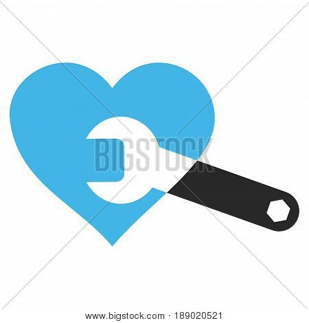 Heart Surgery Wrench flat icon. Vector bicolor blue and gray symbol. Pictogram is isolated on a white background. Trendy flat style illustration for web site design, logo, ads, apps, user interface.