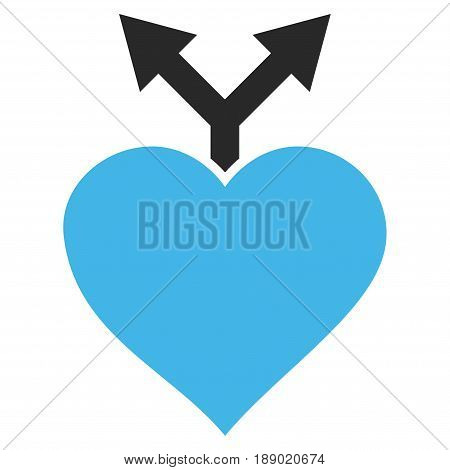 Love Variants flat icon. Vector bicolor blue and gray symbol. Pictograph is isolated on a white background. Trendy flat style illustration for web site design, logo, ads, apps, user interface.