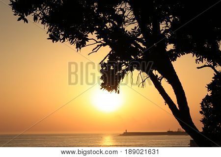 Beautiful view of a sunset sunrise sky in Porto, Portugal. Summer and vacation travel card or banner template.