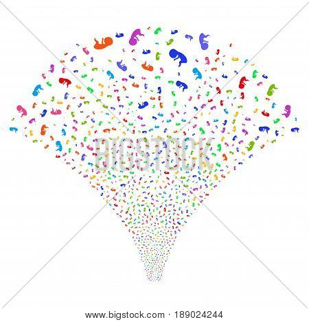 Human Embryo salute stream. Vector illustration style is flat bright multicolored iconic symbols on a white background. Object explosion fountain constructed from random symbols.