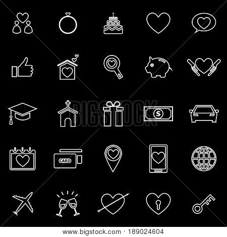Family line icons on black background, stock vector