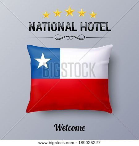 Realistic Pillow and Flag of Chile as Symbol National Hotel. Flag Pillow Cover with Chilean flag