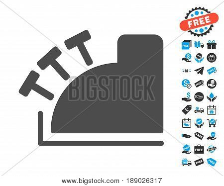 Cash Register gray pictograph with free bonus pictograms. Vector illustration style is flat iconic symbols.