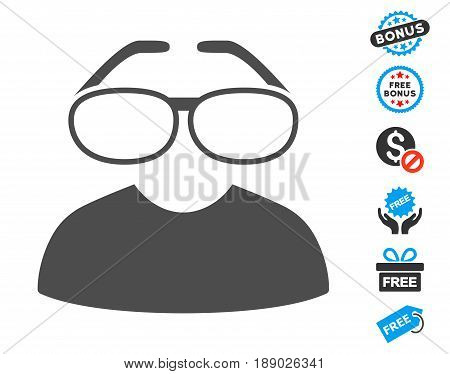 Clever Spectacles gray pictogram with free bonus pictograms. Vector illustration style is flat iconic symbols.