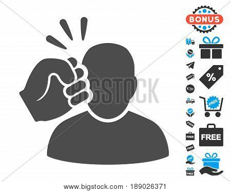 Crime Violation Fist Strike gray pictograph with free bonus clip art. Vector illustration style is flat iconic symbols.