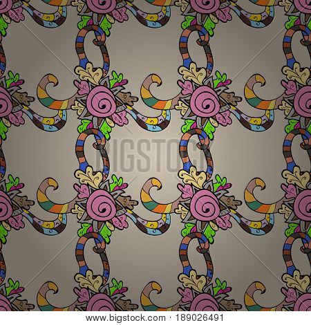 Colorful elements on blue background. Seamless oriental ornament in the style of baroque. Traditional classic vector colorful seamless pattern.