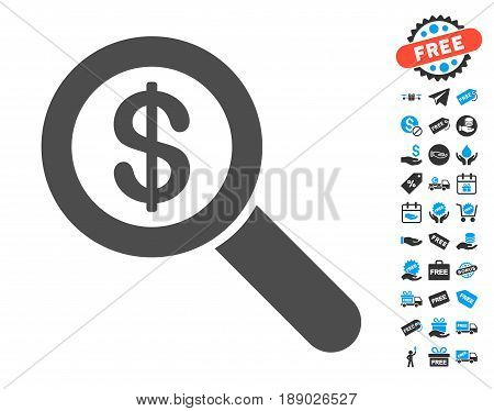 Financial Audit Loupe gray pictogram with free bonus pictograms. Vector illustration style is flat iconic symbols.