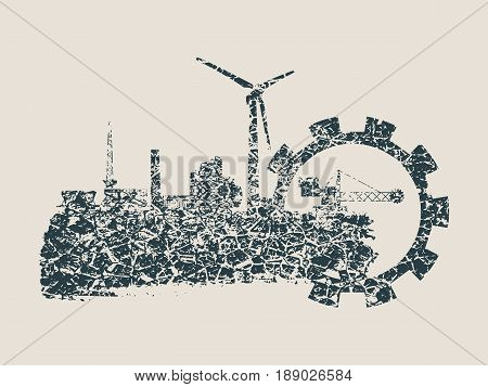 Energy and Power icons set and grunge brush stroke. Energy generation and heavy industry relative image. Grunge cracked texture