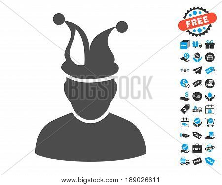 Fool gray icon with free bonus symbols. Vector illustration style is flat iconic symbols.