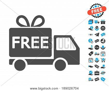 Free Delivery gray pictogram with free bonus elements. Vector illustration style is flat iconic symbols.