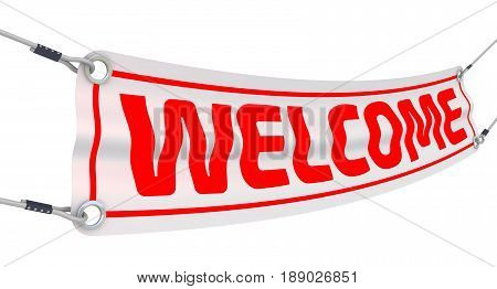 Welcome. Advertising banner with inscriptions