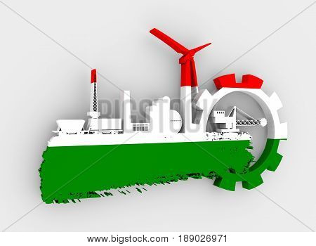 Energy and Power icons set and grunge brush stroke. Energy generation and heavy industry relative image. Flag of the Hungary. 3D rendering