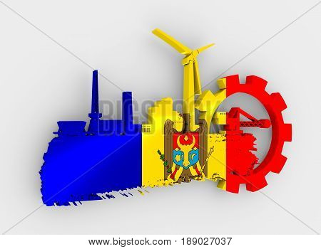 Energy and Power icons set and grunge brush stroke. Energy generation and heavy industry relative image. Flag of the Moldova. 3D rendering