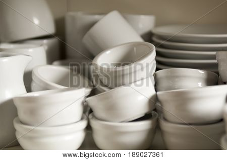Stacks Of Clean And Empty Dipping Bowls Or Ramekin