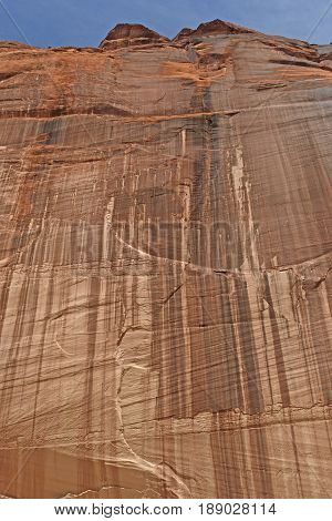 Sheer Red Rock Wall in the Desert in Canyon de Chelly National Park in Arizona