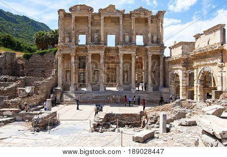 Aydin, Turkey - May 10, 2017: Many tourists visit the Library of Celsus , Ephesus , Kusadasi Turkey
