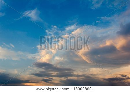 Sunset With Partly Cloudy Sky. Dramatic Sky
