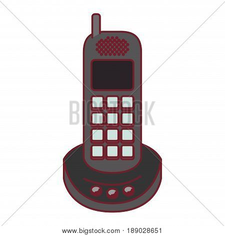 colorful graphic of cordless phone with dark red line contour vector illustration